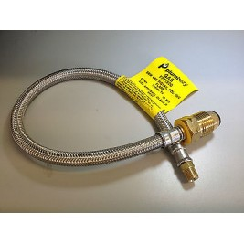 """Caravan/Motorhome/RV 8mm 1mtr StainelessPigtail POL Male to 1/4"""" Inverted Flare"""