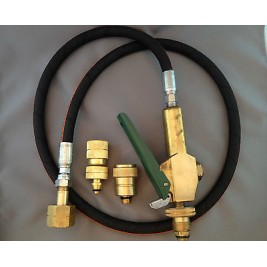 LPG Filler Gun & Hose CGA 555 to POL/BBQ ,  with Primus and Companion Adapters