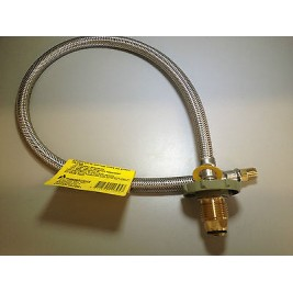 """Caravan/Motorhome/RV 8mm 600mm StainelessPigtail POL Male to 1/4"""" Inverted Flare"""
