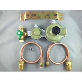 Marshall High Capacity House LPG 2 Stage Regulator + 2 x 500mm Pig Tails & Tap